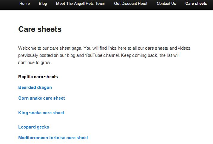 angell pet care sheet page